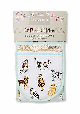 Cooksmart Cats On Parade Double Oven Glove Mitt Cotton Insulated Textile Kitchen