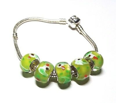 Ducks on Green Background Glass Beads with Silver Inserts Large Hole Beads