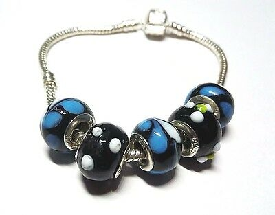 Black n Blue Glass Beads with .925 Silver Inserts Large Hole Beads 5 pcs