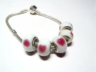 Pink Hearts Glass Beads with .925 Silver Inserts Large Hole Beads 5 pcs