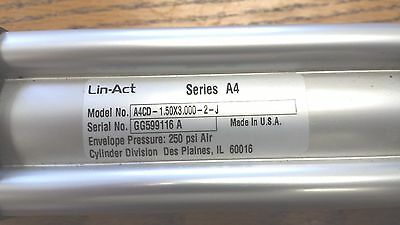 Lin-Act air cylinder  Series A4  A4CD-1.5X3.00-2-J 250 PSI