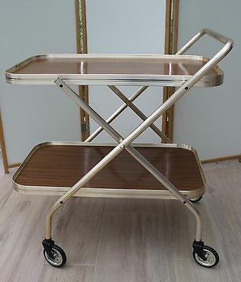 Vintage Formica & Gilt Folding Two Tier Tea Trolley/drinks/cocktails/bbq