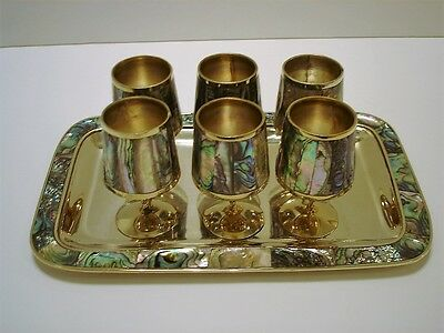 Vintage Alpaca Silver Mexico Abalone Mother of Pearl Shot Cordial Goblets & Tray