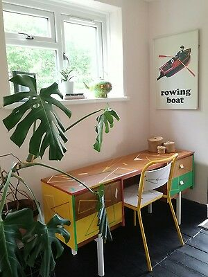 Mid-century vintage retro desk and matching mid-century tubular chair
