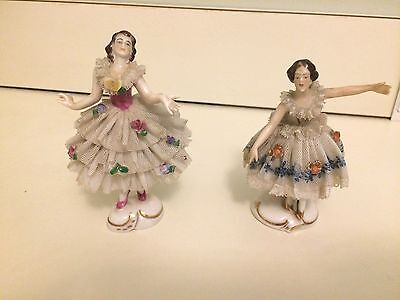 "Antique Porcelain DRESDEN VOLKSTEDT Pair of Dancing Ballerinas Figurines 4"" Tall"