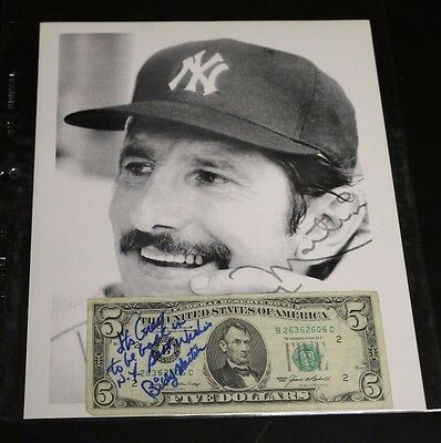 """BILLY MARTIN AUTOGRAPH SIGNED 1985 $5 DOLLAR BILL """"Its Great to be back in NY"""""""