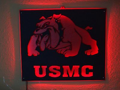 Usmc United States Marine Corps Metal Led Neon Bar Sign Man Cave  Devil Dogs
