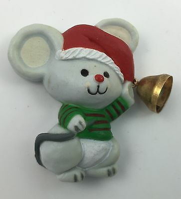 Collectible Vintage Hallmark magnet - Festive Mouse with Bell