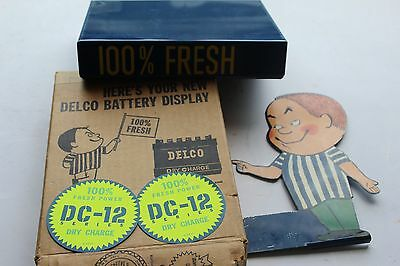 Vintage Tin Litho Delco Battery Display with Freshie in Box