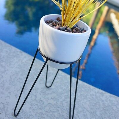 """14"""" MODERN HAIRPIN BASE PLANTER & STAND - MID CENTURY EAMES ERA BULLET STYLE 50s"""