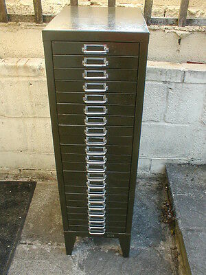 vintage industrial stor 21 drawer metal filing cabinet