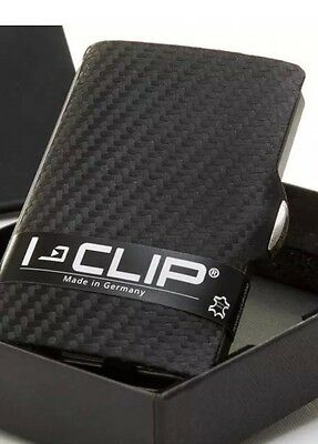 I-clip Wallet Card And Note Black Leather Carbon Holder **BRAND NEW & GENUINE**