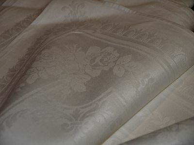 """9*Antique*Irish*Damask*Linen*Napkins*22""""*Roses*Pure White*Buttery*Old Linen*"""