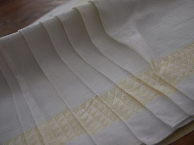 8*Antique*Vintage*Damask*Linen*Napkins*White Yellow Damask*Retro*Mid Century