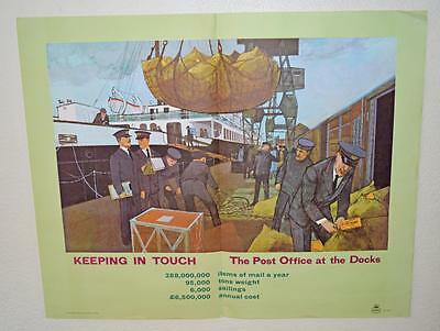 Old ' GPO ' Post Office Poster ' At The Docks ' Shipping - Railway - Crane.