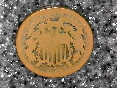1865 US 2 Cent Piece - (Well Worn) Affordable US Type Coin