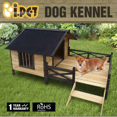 Pet Dog Kennel House Extra Large With Patio Wooden Timber Porch Bed Deck XL