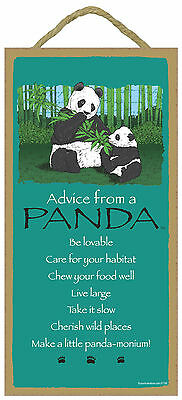 Advice from a Panda Inspirational Wood Nature Bear Sign Plaque Made in USA