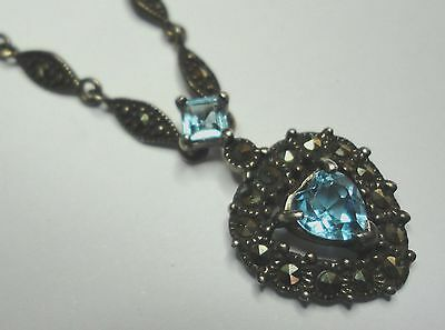 Vintage Sterling Silver Heart Necklace Marcasite Detailed Chain & Blue Stone Acc