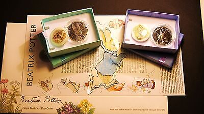 Beatrix Potter*FIRST DAY COVER +(2) Peter Rabbit 50p CuNi & Coloured Decal GIFT!