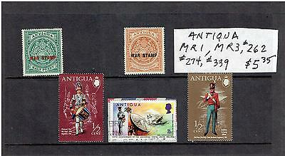 Antigua War Tax Stamps Mr#1 & Mr#3, + #262,274, & 339, Scv $5.35
