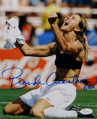 Brandi Chastain Autographed Team USA 8x10 Shirt Off Photo- JSA Witnessed Auth