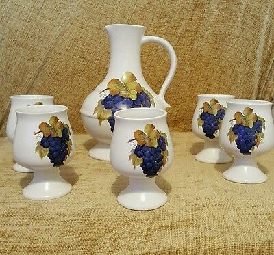 Rare vintage Prinknash Abbey grape decorated wine jug and goblet set