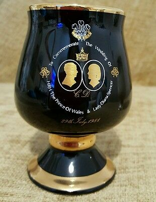 1981 Charles & Diana Royal Wedding Commemorative Black Goblet, Prinknash Pottery