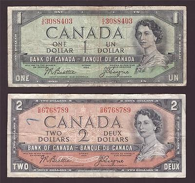 1954 Canada ONE and TWO dollar devils face banknotes VG10 and F15