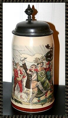 Mettlach 1/2 L Parade Themed German Stein By Villeroy & Boch