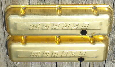 Vintage Moroso Gold Anodized Valve Covers Big Block Chevy BBC & 6 Gold Wing Nuts