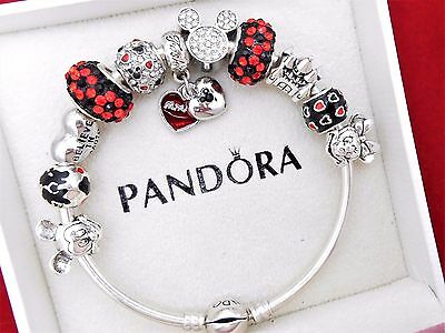 Authentic Pandora Silver Bangle Bracelet With Mickey & Minnie European Charms.