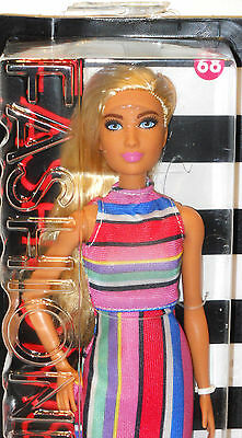 New Barbie 2017 Fashionistas Candy Stripes 68 Tall Blond Lea Dress Shoes Blond