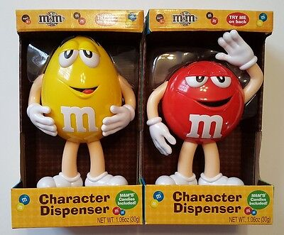 "Lot of 2 M & M Character Candy Dispenser Med 10.5"" Red & Yellow"