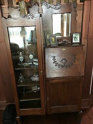 Antique Mirrored Wood Secretary Bookcase Side By Side with Drop Down