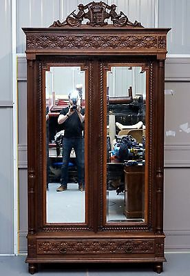 Stunning Hand Carved Wood French Country Mirrored Double Door Armoire Wardrobe