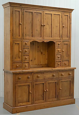 Stunning Rare Large Solid Pine Antique Merchants Welsh Dresser Bank Of Drawers