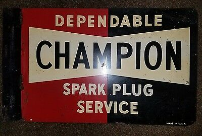 Original Vintage 1950's Double-Sided Flange Champion Spark Plug Metal Sign