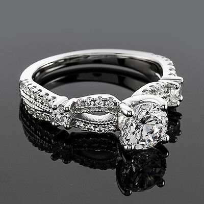 1 CT ROUND CUT DIAMOND ENGAGEMENT RING ENHANCED D/VS 14k WHITE GOLD
