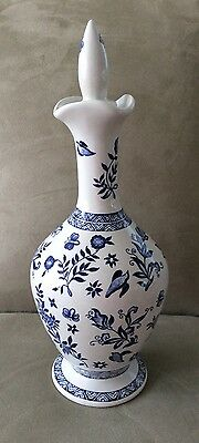 Limited Edition Coalport Blue & White BELFORT Pattern Decanter w/Stopper