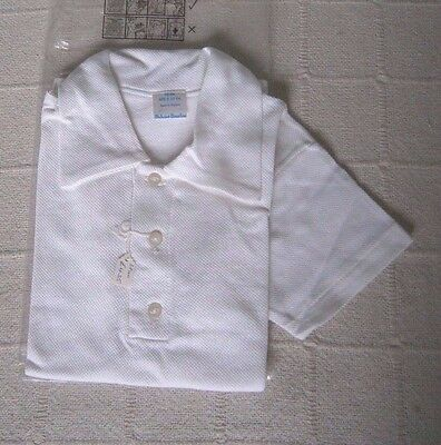 Vintage Sports Shirt - Age 9-10 - White Cotton Mesh - Collar & 3 Buttons - New