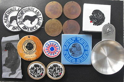 Newfoundland Dog Club of America Lot - Pins Patches Medals Tile Pewter Bowl Etc