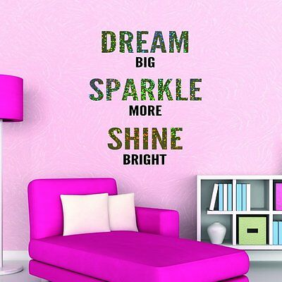 Dream Big Sparkly Glitter Quote Wall Sticker Vinyl Decal Mural Girls Bedroom