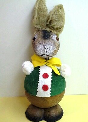 """Vintage Bobblehead GERMAN BUNNY CANDY CONTAINER, Fake Fur Ears, 1980's, 8 1/2"""""""