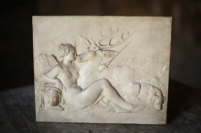 Early 19th century Grand tour plaster plaque Diana and the stag