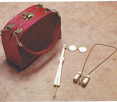 Antique French Fashion Lady Doll Accessories/travel Purse&opera Glasses+Pattern