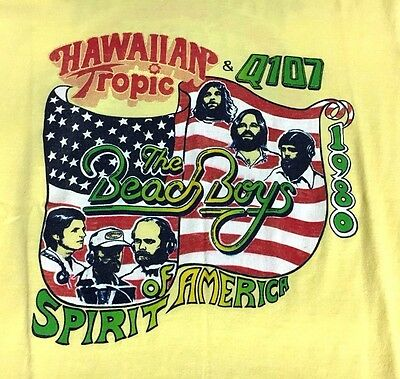 Vtg 1980 Hawaiian Tropic BEACH BOYS America Thin 50/50 Concert T shirt Q107-sz M