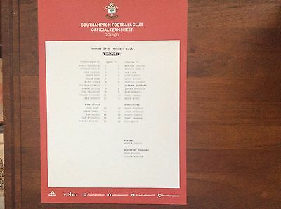 Southampton Under 21s v Chelsea Under 21s 2015-16 League Teamsheet