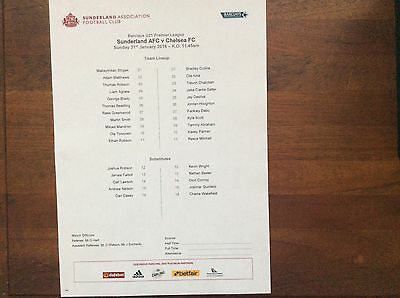 Sunderland Under 21s v Chelsea Under 21s 2015-16 Teamsheet