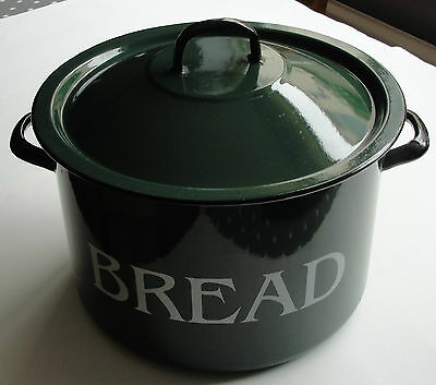 Large Green Vintage Enamel Bread Bin / Bucket •●•●